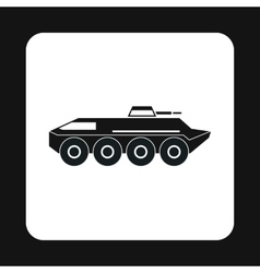 Armoured troop carrier wheeled icon simple style vector image