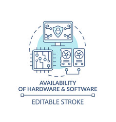 Availability hardware and software turquoise vector