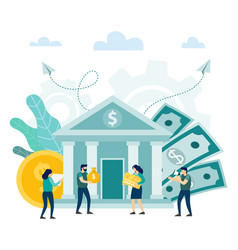 bank building with people happy client investors vector image
