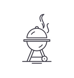 bbq line icon concept bbq linear vector image