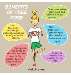Benefits of tree pose vector