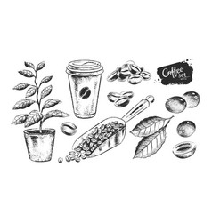 Black and white set coffee sack vector