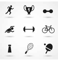 black sports icons set on gray vector image