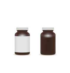 blank brown pills container with blank whute label vector image