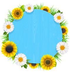 Blue round wooden frame with flowers vector