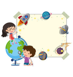 Border template with kids and planets vector