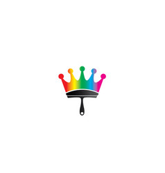 brush painting as a crown symbol with multicolors vector image
