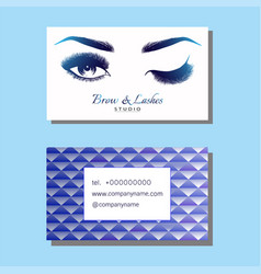 business card with beautiful girl brow and eye vector image