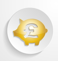 Button Pound Piggy bank design with shadow effect vector