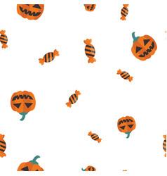 candy pumpkin halloween pattern seamless vector image