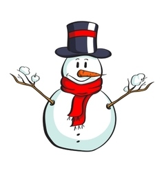 Cartoon Snowman On White vector image