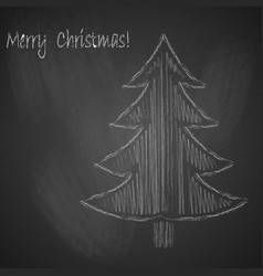 christmas background with christmas tree drawn vector image