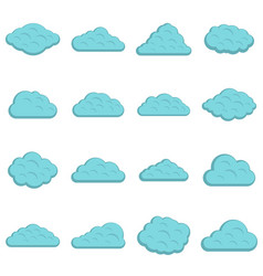 clouds icons set in flat style vector image