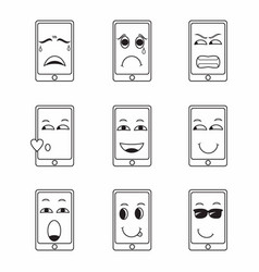 Collection various handphone expressions vector