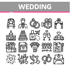 Collection wedding thin line icons set vector