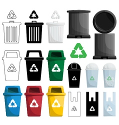 Color recycle bin vector
