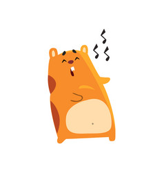 Cute cartoon hamster character singing song funny vector