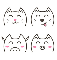 Cute doodle animals set collection vector