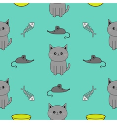 Cute gray cartoon cat bowl fish bone mouse toy vector