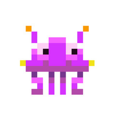 cute purple space invader monster game enemy in vector image