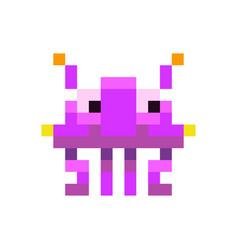 Cute purple space invader monster game enemy vector