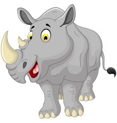 cute rhino cartoon smiling vector image