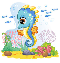 Cute seahorse and sea world wildlife background vector