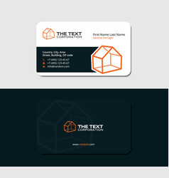 Dark business card with orange cottage vector