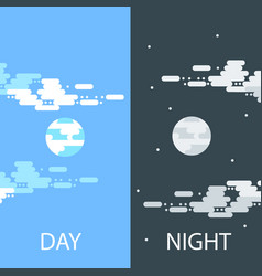 Day and night flat or banners vector