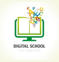 Digital school book alphabet logo vector