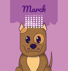 dog cute calendar cartoon vector image