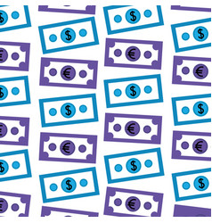 dollar and euro money pattern vector image
