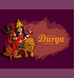 Durga pooja navratri festival wishes card design vector