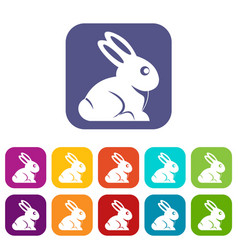 Easter bunny icons set flat vector