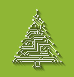 electronic circuit christmas tree happy new year vector image