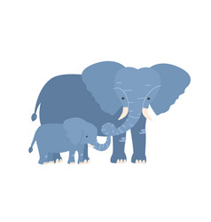 elephant with calf isolated on white background vector image