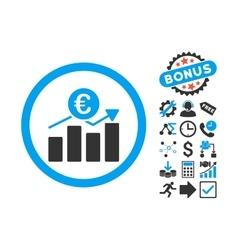 Euro Business Chart Flat Icon with Bonus vector image
