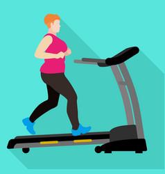 Fat woman treadmill icon flat style vector