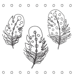 Feather Hand Drawn Set vector