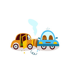 flat cartoon car crash accident isolated vector image