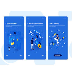 flat design oneboarding concepts - isometric 3 vector image