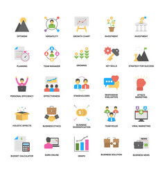 Flat set of business management theme vector