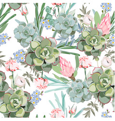 floral pattern delicate pink protea flower vector image