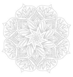 Flower mandala adult coloring vector