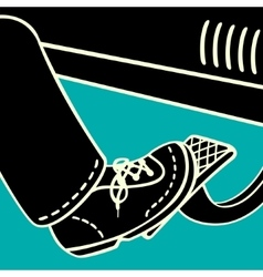 foot on the gas pedal vector image