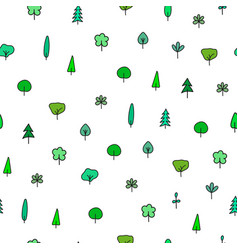 Forest garden tree nature simple seamless pattern vector