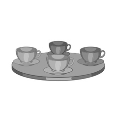 Four mugs on the table icon monochrome style vector image