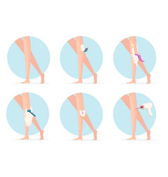 Girl hair removal shaving waxing and laser vector