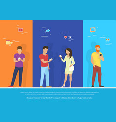 group people using smartphone concept vector image