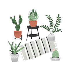 hand drawn home plants collection interior home vector image